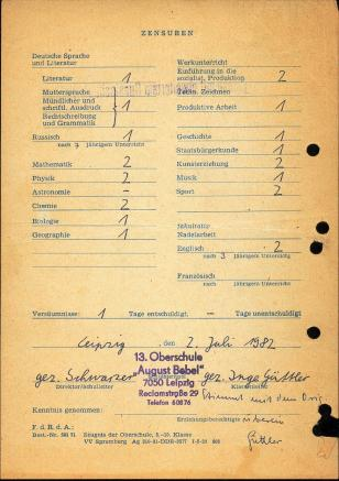 21 Zeugnis 9 Klasse 1982 2