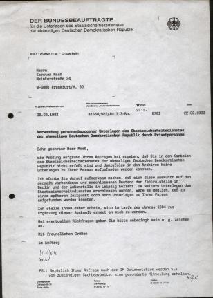 66 Gauckbehörden-Bescheid 1993