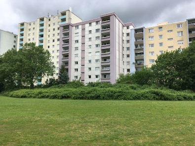 Die Fechenheimer Nachkriegs-Moderne vom Sportplatz aus betrachtet. Hier wohne ich.